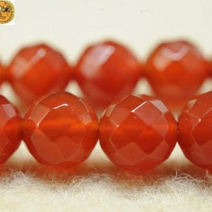 Shop Carnelian Round Beads! 15 inch strand of natural Carnelian faceted(64 faces) round beads 6mm 8mm 10mm 12mm 14mm for Choice | Natural genuine round Carnelian beads for beading and jewelry making.  #jewelry #beads #beadedjewelry #diyjewelry #jewelrymaking #beadstore #beading #affiliate #ad