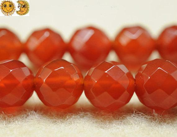 15 Inch Strand Of Natural Carnelian Faceted(64 Faces) Round Beads 6mm 8mm 10mm 12mm 14mm For Choice