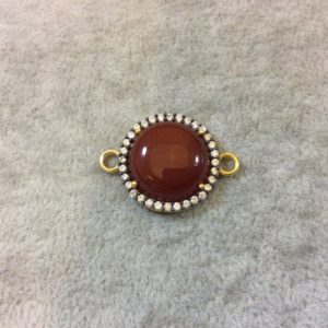 Shop Carnelian Round Beads! Carnelian Bezel | Gold Finish Smooth CZ Rimmed Round Shaped Bezel Connector Component – Measures 20mm x 20mm – Sold Individually | Natural genuine round Carnelian beads for beading and jewelry making.  #jewelry #beads #beadedjewelry #diyjewelry #jewelrymaking #beadstore #beading #affiliate #ad