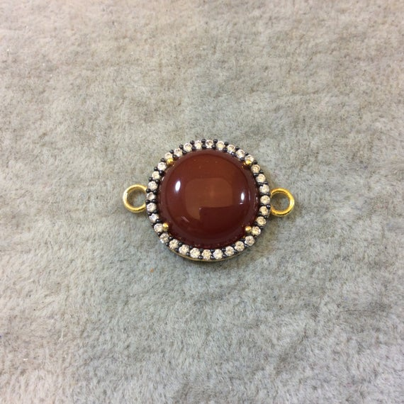 Carnelian Bezel   Gold Finish Smooth Cz Rimmed Round Shaped Bezel Connector Component - Measures 20mm X 20mm - Sold Individually