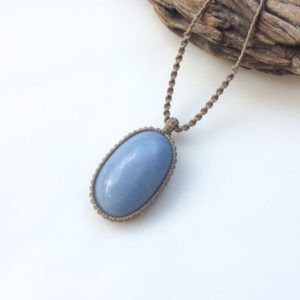 Shop Celestite Pendants! Natural Celestite necklace, Macrame necklace with blue stone, Big oval Celestite stone, Celestite pendant, Macrame art, Light blue, Unisex | Natural genuine Celestite pendants. Buy crystal jewelry, handmade handcrafted artisan jewelry for women.  Unique handmade gift ideas. #jewelry #beadedpendants #beadedjewelry #gift #shopping #handmadejewelry #fashion #style #product #pendants #affiliate #ad