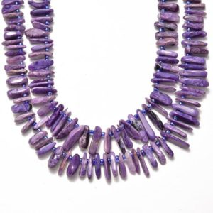 """Shop Charoite Chip & Nugget Beads! Natural Charoite Pebble Slice Stick Points Beads Approx 15.5"""" Strand 