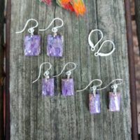 Dainty Charoite Earrings. Petite Silver Charoite Earrings | Natural genuine Gemstone jewelry. Buy crystal jewelry, handmade handcrafted artisan jewelry for women.  Unique handmade gift ideas. #jewelry #beadedjewelry #beadedjewelry #gift #shopping #handmadejewelry #fashion #style #product #jewelry #affiliate #ad