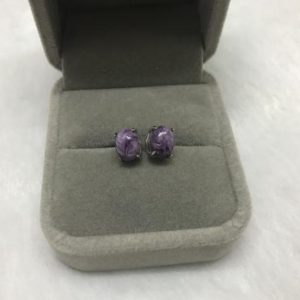 Shop Charoite Earrings! Natural 6x9mm Oval Purple Charoite Genuine Gemstone Earrings —1 Pair (2pcs) | Natural genuine Charoite earrings. Buy crystal jewelry, handmade handcrafted artisan jewelry for women.  Unique handmade gift ideas. #jewelry #beadedearrings #beadedjewelry #gift #shopping #handmadejewelry #fashion #style #product #earrings #affiliate #ad
