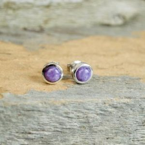 Shop Charoite Earrings! Petite Charoite Stud Earrings // Charoite Jewelry // Sterling Silver // Village Silversmith | Natural genuine Charoite earrings. Buy crystal jewelry, handmade handcrafted artisan jewelry for women.  Unique handmade gift ideas. #jewelry #beadedearrings #beadedjewelry #gift #shopping #handmadejewelry #fashion #style #product #earrings #affiliate #ad
