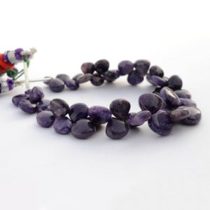 Shop Charoite Bead Shapes! Charoite Heart Shaped Briolette Beads, 7mm To 13mm Charoite Smooth Loose Gemstone Beads, Sold As 3.5 Inch / 7 Inch Strand, Gds2089 | Natural genuine other-shape Charoite beads for beading and jewelry making.  #jewelry #beads #beadedjewelry #diyjewelry #jewelrymaking #beadstore #beading #affiliate #ad