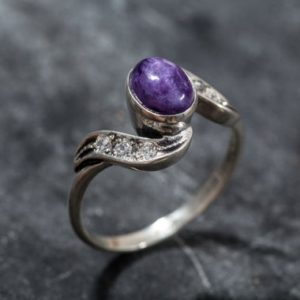 Charoite, Charoite Ring, Vintage Ring, Natural Stone, Antique Ring, Purple Stone Ring, Purple Ring, Natural Charoite, Solid Silver Ring | Natural genuine Charoite rings, simple unique handcrafted gemstone rings. #rings #jewelry #shopping #gift #handmade #fashion #style #affiliate #ad