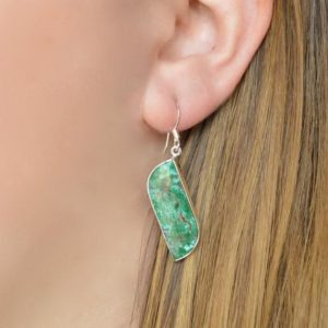 Shop Chrysocolla Earrings! Curve Shaped Chrysocolla Earrings // Chrysocolla Jewelry // Stone Jewelry // Sterling Silver // Village Silversmith   Natural genuine Chrysocolla earrings. Buy crystal jewelry, handmade handcrafted artisan jewelry for women.  Unique handmade gift ideas. #jewelry #beadedearrings #beadedjewelry #gift #shopping #handmadejewelry #fashion #style #product #earrings #affiliate #ad
