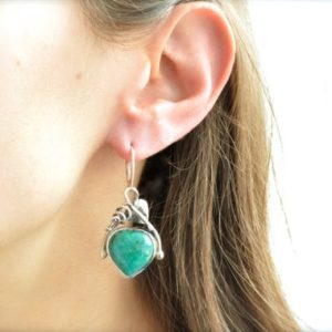 Shop Chrysocolla Jewelry! Loving Heart Chrysocolla Earrings // Chrysocolla Jewelry // Sterling Silver // Village Silversmith | Natural genuine Chrysocolla jewelry. Buy crystal jewelry, handmade handcrafted artisan jewelry for women.  Unique handmade gift ideas. #jewelry #beadedjewelry #beadedjewelry #gift #shopping #handmadejewelry #fashion #style #product #jewelry #affiliate #ad