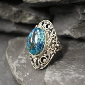 Shop Chrysocolla Rings! Blue Chrysocolla Ring, Natural Chrysocolla, Antique Ring, Long Statement Ring, Vintage Ring, Chunky Ring, Artistic Ring, Solid Silver Ring | Natural genuine Chrysocolla rings, simple unique handcrafted gemstone rings. #rings #jewelry #shopping #gift #handmade #fashion #style #affiliate #ad