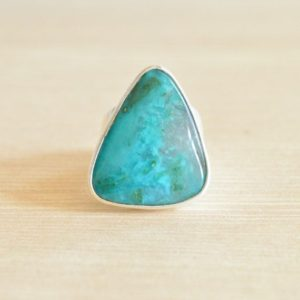 Shop Chrysocolla Rings! Gem Silica Chrysocolla Ring // Chrysocolla Jewelry // Gem Silica Jewelry // Sterling Silver // Village Silversmith | Natural genuine Chrysocolla rings, simple unique handcrafted gemstone rings. #rings #jewelry #shopping #gift #handmade #fashion #style #affiliate #ad