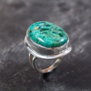 Shop Chrysocolla Rings! Chrysocolla Ring, Natural Chrysocolla, Statement Ring, Large Vintage Ring, Sagittarius Ring, Blue Ring, Vintage Silver Ring, Chrysocolla | Natural genuine Chrysocolla rings, simple unique handcrafted gemstone rings. #rings #jewelry #shopping #gift #handmade #fashion #style #affiliate #ad