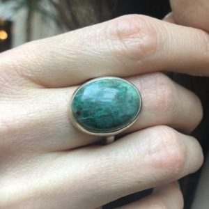 Shop Chrysocolla Rings! Statement Ring, Chrysocolla Ring, Natural Chrysocolla, Unique Ring Design, Vintage Blue Ring, 925 Silver Ring, Blue Stone Ring, Chrysocolla | Natural genuine Chrysocolla rings, simple unique handcrafted gemstone rings. #rings #jewelry #shopping #gift #handmade #fashion #style #affiliate #ad