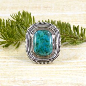 Shop Chrysocolla Rings! Wired Rectangle Chrysocolla Ring // Chrysocolla Jewelry // Sterling Silver // Village Silversmith | Natural genuine Chrysocolla rings, simple unique handcrafted gemstone rings. #rings #jewelry #shopping #gift #handmade #fashion #style #affiliate #ad