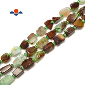 "Shop Chrysoprase Chip & Nugget Beads! Chrysoprase Irregular Pebble Nugget Side Drill Beads Approx 10x14mm 15.5""Strand 