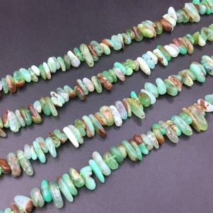 "Shop Chrysoprase Chip & Nugget Beads! Natural Chrysoprase Chip Beads Tiny Chrysoprase Stick Spike Beads Shard Beads Polished Chrysoprase Supplies 10-15mm 15.5"" full strand 