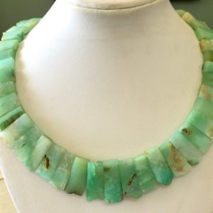 "Shop Chrysoprase Chip & Nugget Beads! Natural Raw Chrysoprase Layout Necklace Gemstone Bib Necklace Cleopatra Necklace Collar Necklace For Women, 14"" 14mm To 27mm, GDS1916 