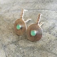 Chrysoprase Earrings, Australian Chrysoprase, Natural Chrysoprase, Infinity Earrings, May Birthstone, Round Silver Earrings, Solid Silver | Natural genuine Gemstone jewelry. Buy crystal jewelry, handmade handcrafted artisan jewelry for women.  Unique handmade gift ideas. #jewelry #beadedjewelry #beadedjewelry #gift #shopping #handmadejewelry #fashion #style #product #jewelry #affiliate #ad