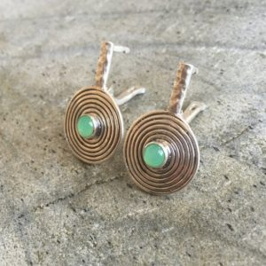 Shop Chrysoprase Earrings! Chrysoprase Earrings, Australian Chrysoprase, Natural Chrysoprase, Infinity Earrings, May Birthstone, Round Silver Earrings, Solid Silver | Natural genuine Chrysoprase earrings. Buy crystal jewelry, handmade handcrafted artisan jewelry for women.  Unique handmade gift ideas. #jewelry #beadedearrings #beadedjewelry #gift #shopping #handmadejewelry #fashion #style #product #earrings #affiliate #ad