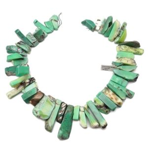 """Shop Chrysoprase Bead Shapes! Chrysoprase Graduated Irregular Slice Stick Points Beads 20-40mm 15.5"""" Strand 
