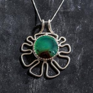 Shop Chrysoprase Pendants! Chrysoprase Pendant, Natural Chrysoprase, Flower Pendant, May Pendant, Matrix Chrysoprase, Vintage Pendant, Silver Pendant, Chrysoprase | Natural genuine Chrysoprase pendants. Buy crystal jewelry, handmade handcrafted artisan jewelry for women.  Unique handmade gift ideas. #jewelry #beadedpendants #beadedjewelry #gift #shopping #handmadejewelry #fashion #style #product #pendants #affiliate #ad