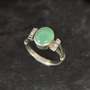 Shop Chrysoprase Rings! Chrysoprase Ring, Natural Chrysoprase, Dainty Ring, Green Antique Ring, 2 Carat Ring, Solitaire Ring, Green Oval Ring, Solid Silver Ring | Natural genuine Chrysoprase rings, simple unique handcrafted gemstone rings. #rings #jewelry #shopping #gift #handmade #fashion #style #affiliate #ad