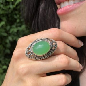 Shop Chrysoprase Rings! Chrysoprase Ring, Natural Chrysoprase, May Birthstone, Bohemian Ring, Green Vintage Ring, Artistic Ring, Victorian Ring, Solid Silver Ring | Natural genuine Chrysoprase rings, simple unique handcrafted gemstone rings. #rings #jewelry #shopping #gift #handmade #fashion #style #affiliate #ad
