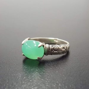 Shop Chrysoprase Jewelry! Chrysoprase Ring, Natural Chrysoprase, May Birthstone, Green Vintage Ring, Bohemian Ring, Artistic Ring, May Ring, Silver Ring, Chrysoprase | Natural genuine Chrysoprase jewelry. Buy crystal jewelry, handmade handcrafted artisan jewelry for women.  Unique handmade gift ideas. #jewelry #beadedjewelry #beadedjewelry #gift #shopping #handmadejewelry #fashion #style #product #jewelry #affiliate #ad