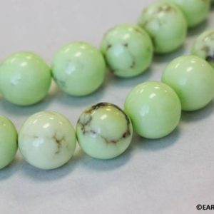 """Shop Chrysoprase Round Beads! L/ Lemon Chrysoprase 16mm Smooth Round loose Beads. Stabilized Bright Green gemstone About 24 pc on a 16"""" strand For jewelry making 