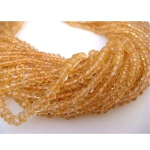 Shop Citrine Faceted Beads! 50 Strands Wholesale 4mm Citrine Faceted Rondelles Beads, 13.5 Inch Strand, Ws044 | Natural genuine faceted Citrine beads for beading and jewelry making.  #jewelry #beads #beadedjewelry #diyjewelry #jewelrymaking #beadstore #beading #affiliate #ad