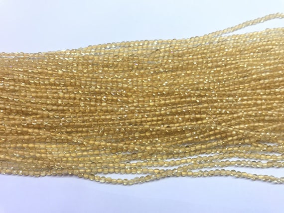 Faceted Citrine 2.5mm Flat Round Cut  Natural Yellow Quartz Grade A Coin Beads 15 Inch Jewelry Supply Bracelet Necklace Material Wholesale