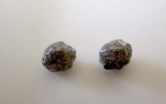 2 Pieces 6mm Each Matched Pair Gray Raw Rough Loose Diamonds, Round Natural Uncut Loose Diamonds, Sku-dds208