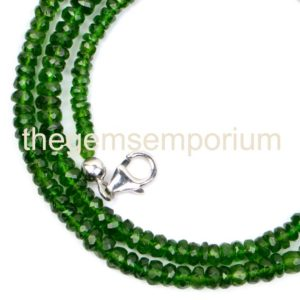 Shop Diopside Necklaces! Natural Chrome Diopside Faceted Rondelle Shape Gemstone Necklace (3-4.75mm)Beads,Chrome Diopside Rondelle Gemstone Beads,Wholesale Beads | Natural genuine Diopside necklaces. Buy crystal jewelry, handmade handcrafted artisan jewelry for women.  Unique handmade gift ideas. #jewelry #beadednecklaces #beadedjewelry #gift #shopping #handmadejewelry #fashion #style #product #necklaces #affiliate #ad