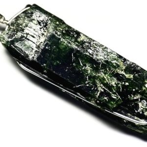 Shop Diopside Pendants! Diopside Crystal Necklace, Dark Green Diopside Pendant (138 ct) Raw Diopside in Silver, Wire Wrapped Huge Crystal, Big Mens Necklace For Him | Natural genuine Diopside pendants. Buy handcrafted artisan men's jewelry, gifts for men.  Unique handmade mens fashion accessories. #jewelry #beadedpendants #beadedjewelry #shopping #gift #handmadejewelry #pendants #affiliate #ad
