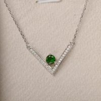 Diopside Pendant, Green Gemstone Necklaces, Round Cut, Sterling Silver, Vintage Necklace | Natural genuine Gemstone jewelry. Buy crystal jewelry, handmade handcrafted artisan jewelry for women.  Unique handmade gift ideas. #jewelry #beadedjewelry #beadedjewelry #gift #shopping #handmadejewelry #fashion #style #product #jewelry #affiliate #ad