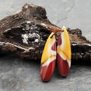 Drilled Australian Mookaite Jasper Earring Pair Matched Teardrop Gemstone Earrings Bead Pair Burgundy Maroon Red Yellow Sunset Colors | Natural genuine other-shape Gemstone beads for beading and jewelry making.  #jewelry #beads #beadedjewelry #diyjewelry #jewelrymaking #beadstore #beading #affiliate #ad