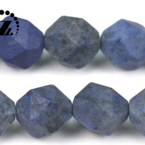 """Shop Dumortierite Beads! Blue Dumortierite Faceted Matte Nugget Star Cut Beads,Diamond cut bead,Nugget,Grade A,natural,gemstone,diy bead,6mm 8mm 10mm,15"""" full strand 