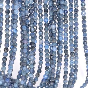 Shop Dumortierite Beads! 3mm Rare Blue Dumortierite Gemstone Grade AAA Micro Faceted Blue Round Loose Beads 15.5 inch Full Strand (80004636-344) | Natural genuine faceted Dumortierite beads for beading and jewelry making.  #jewelry #beads #beadedjewelry #diyjewelry #jewelrymaking #beadstore #beading #affiliate #ad