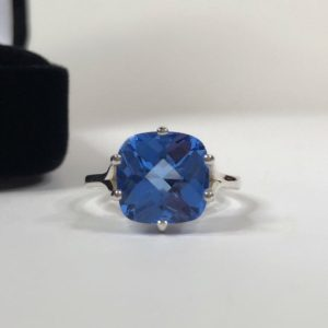 Shop Dumortierite Rings! Gorgeous 5ct Cushion Cut Blue Quartz Ring Dumortierite Paraiba Color Trending Jewelry Gift Mom Wife Fiance Daughter Bride Mother | Natural genuine Dumortierite rings, simple unique handcrafted gemstone rings. #rings #jewelry #shopping #gift #handmade #fashion #style #affiliate #ad