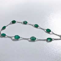 14 Kt White Gold Natural Emerald (3.9 Ct) Fancy Open Link Bracelet, Appraised 3, 950 Cad | Natural genuine Gemstone jewelry. Buy crystal jewelry, handmade handcrafted artisan jewelry for women.  Unique handmade gift ideas. #jewelry #beadedjewelry #beadedjewelry #gift #shopping #handmadejewelry #fashion #style #product #jewelry #affiliate #ad