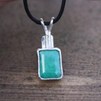 Large Natural Emerald Pendant In Solid Sterling Silver Black Cord , Bezel Set , 20th Anniversary , May Birthstone , Clearance | Natural genuine Gemstone jewelry. Buy crystal jewelry, handmade handcrafted artisan jewelry for women.  Unique handmade gift ideas. #jewelry #beadedjewelry #beadedjewelry #gift #shopping #handmadejewelry #fashion #style #product #jewelry #affiliate #ad