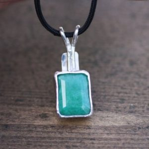 Shop Emerald Pendants! Large Natural Emerald Pendant In Solid Sterling Silver Black Cord , Bezel Set , 20th Anniversary , May Birthstone , Clearance | Natural genuine Emerald pendants. Buy crystal jewelry, handmade handcrafted artisan jewelry for women.  Unique handmade gift ideas. #jewelry #beadedpendants #beadedjewelry #gift #shopping #handmadejewelry #fashion #style #product #pendants #affiliate #ad