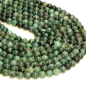 "Shop Emerald Round Beads! 3-4mm Genuine Natural Columbia Emerald Gemstone Genuine Natural Rare Green Grade Round Loose Beads 15.5"" Full Strand (80007928-a244) 