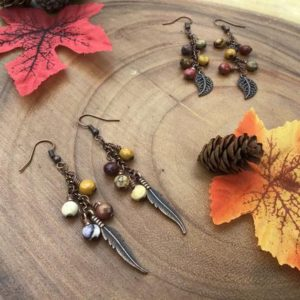 Shop Mookaite Jasper Earrings! Faceted Mookaite Jasper Earrings   Jasper Jewelry   Leaf Earrings   Feather Earrings   Copper Earrings   Copper Jewelry   Fall Jewelry     Natural genuine Mookaite Jasper earrings. Buy crystal jewelry, handmade handcrafted artisan jewelry for women.  Unique handmade gift ideas. #jewelry #beadedearrings #beadedjewelry #gift #shopping #handmadejewelry #fashion #style #product #earrings #affiliate #ad
