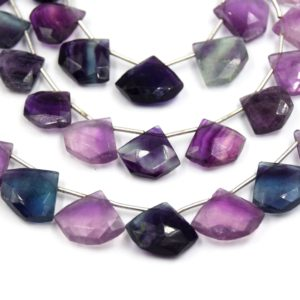 Shop Fluorite Bead Shapes! Fluorite Beads | 16mm X 14mm Shield Shaped High Quality Semi Precious Indian Gemstone Beads | Sold By The Strand | Natural genuine other-shape Fluorite beads for beading and jewelry making.  #jewelry #beads #beadedjewelry #diyjewelry #jewelrymaking #beadstore #beading #affiliate #ad