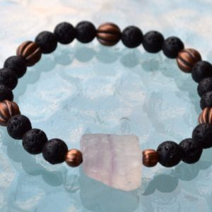 Shop Fluorite Bracelets! 8mm Black Basalt Lava Stone Raw Fluorite Wrist Mala Beads Bracelet – Grounding, Fertility, Calming, Energizing, Stability, Increase Libido, | Natural genuine Fluorite bracelets. Buy crystal jewelry, handmade handcrafted artisan jewelry for women.  Unique handmade gift ideas. #jewelry #beadedbracelets #beadedjewelry #gift #shopping #handmadejewelry #fashion #style #product #bracelets #affiliate #ad
