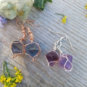 Shop Fluorite Earrings! Fluorite Octohedron Crystal Earrings, Raw Natural Octohedron Crystal Earrings, Purple Or Green Or Mismatch Octohedron Earrings, Flourite | Natural genuine Fluorite earrings. Buy crystal jewelry, handmade handcrafted artisan jewelry for women.  Unique handmade gift ideas. #jewelry #beadedearrings #beadedjewelry #gift #shopping #handmadejewelry #fashion #style #product #earrings #affiliate #ad