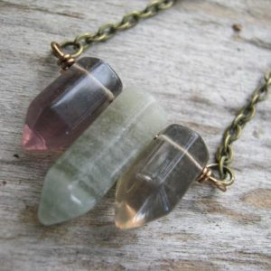 Shop Fluorite Necklaces! Fluorite Spike Necklace, Multi Colored Fluorite Jewelry, Antiqued Bronze or Copper Jewelry, Triplets, Bar Necklace, Choose Length, MFB02 | Natural genuine Fluorite necklaces. Buy crystal jewelry, handmade handcrafted artisan jewelry for women.  Unique handmade gift ideas. #jewelry #beadednecklaces #beadedjewelry #gift #shopping #handmadejewelry #fashion #style #product #necklaces #affiliate #ad