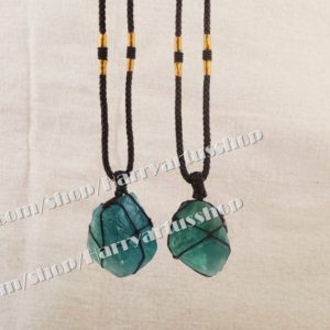 Raw Fluorite Healing Crystal Necklace for Women Men,Rough Natural Green Fluorite Stone Braided Pendant Necklace,Energy Protection Necklace | Natural genuine Gemstone pendants. Buy crystal jewelry, handmade handcrafted artisan jewelry for women.  Unique handmade gift ideas. #jewelry #beadedpendants #beadedjewelry #gift #shopping #handmadejewelry #fashion #style #product #pendants #affiliate #ad
