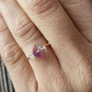 Shop Fluorite Rings! Flourite Crystal ring- made to order, custom rings, crystal ring, dainty ring, stackable ring, midi ring, bronze ring, sterling silver | Natural genuine Fluorite rings, simple unique handcrafted gemstone rings. #rings #jewelry #shopping #gift #handmade #fashion #style #affiliate #ad